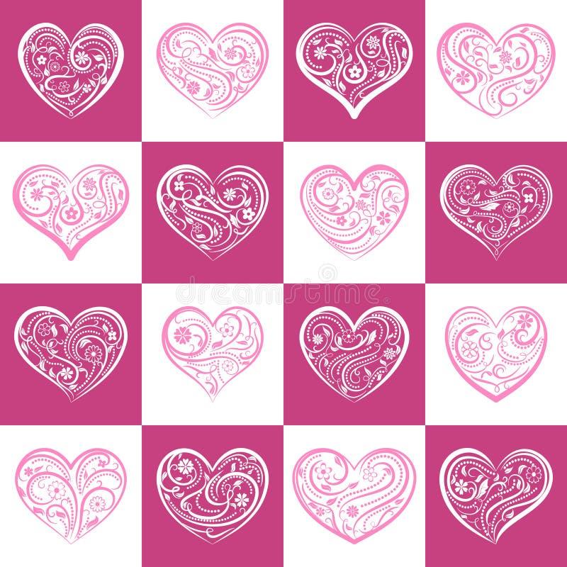 Download Naadloos Patroon Van Vierkanten Met Harten Vector Illustratie - Illustratie bestaande uit ornament, harten: 107700509