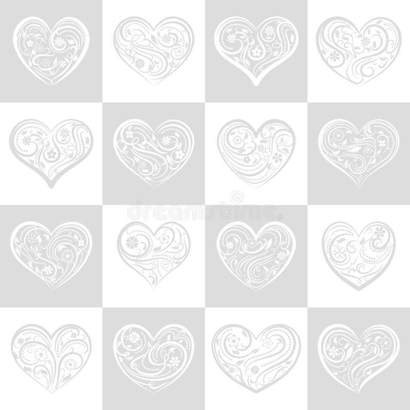 Download Naadloos Patroon Van Vierkanten Met Harten Vector Illustratie - Illustratie bestaande uit ontwerp, achtergrond: 107700660