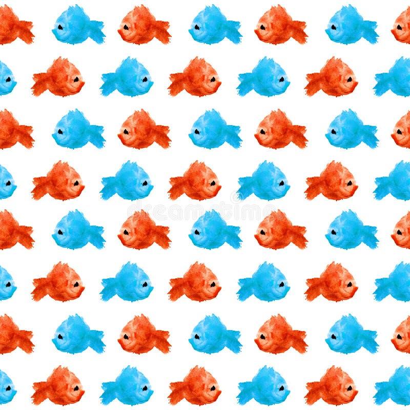 Naadloos patroon van vlek van de waterverf de blauwe rode vlek in de vorm een silhouet van een vis op een witte geïsoleerde achte vector illustratie