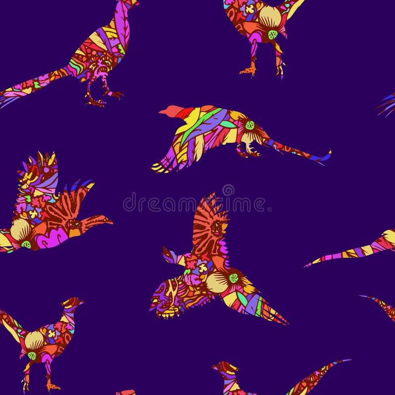 Naadloos patroon van vogelfazant, vectorsilhouetten stock illustratie