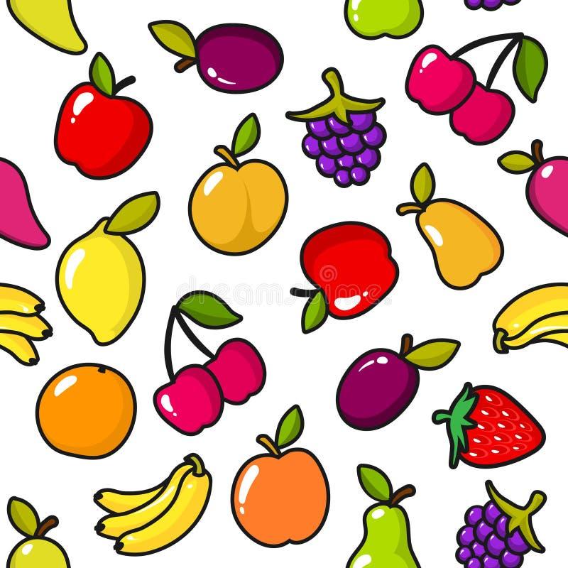 Naadloos patroon van vruchten met zwart overzicht royalty-vrije illustratie