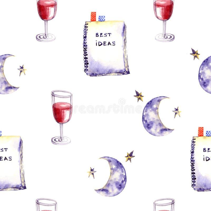 Naadloos patroon van waterkleurglas van wijn, dagboek, maan, sterren Kleurrijke illustratie geïsoleerd op wit Handgeschilderd sja vector illustratie