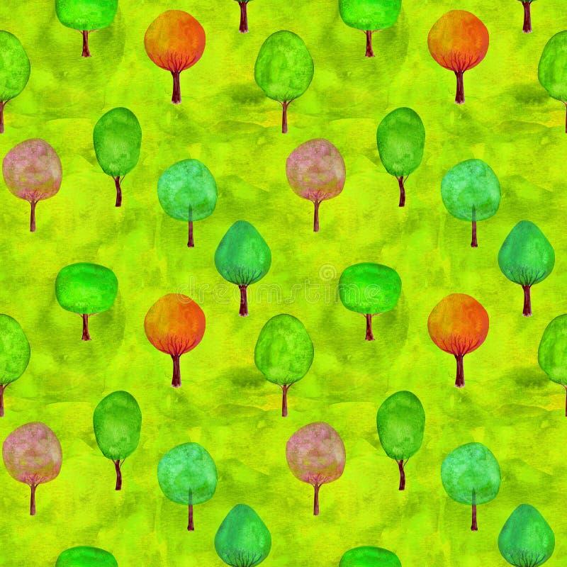 Naadloos patroon van waterverf kleurrijke bomen op groene grasachtergrond royalty-vrije stock foto