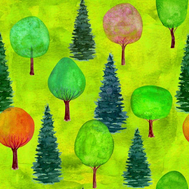 Naadloos patroon van waterverf kleurrijke bomen op groene grasachtergrond stock illustratie