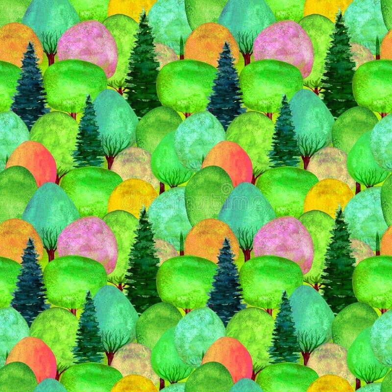 Naadloos patroon van waterverf kleurrijke bomen op groene grasachtergrond vector illustratie