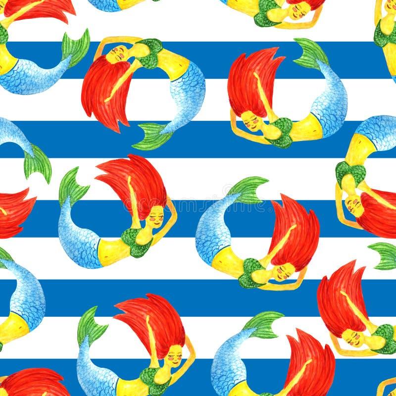 Naadloos patroon van waterverf roodharige meerminnen die in een cirkel op een achtergrond van blauwe overzeese strepen als seawea royalty-vrije illustratie