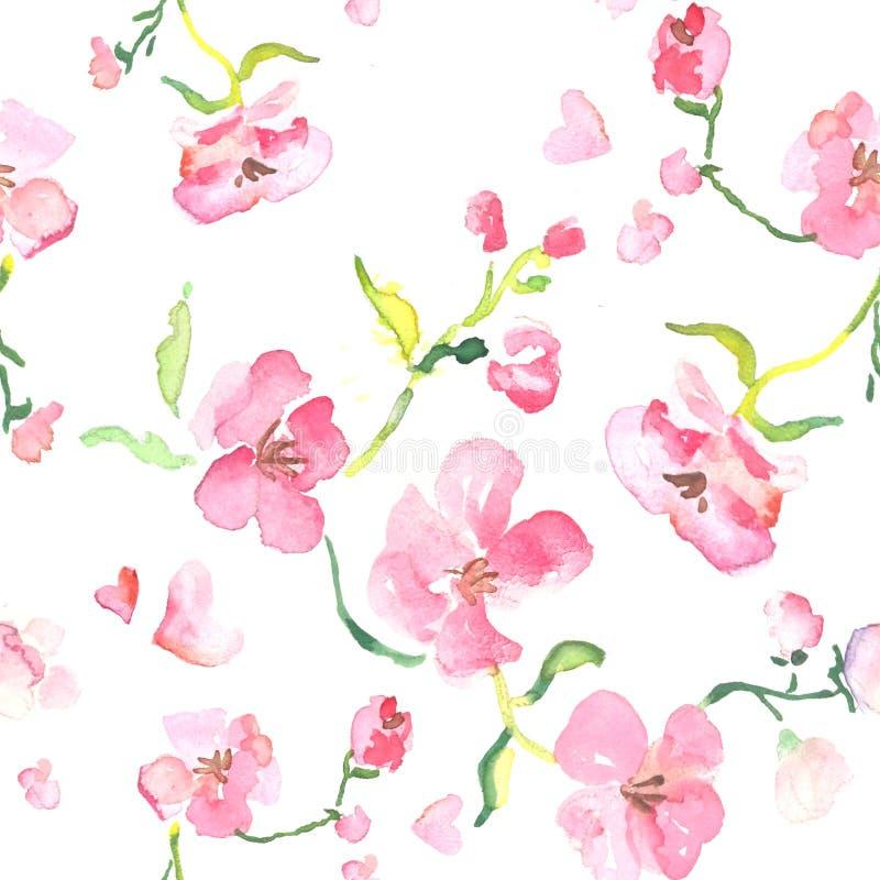 Naadloos patroon van waterverf roze bloeiende bloemen, Valentijnskaartendag, Moedersdag royalty-vrije illustratie