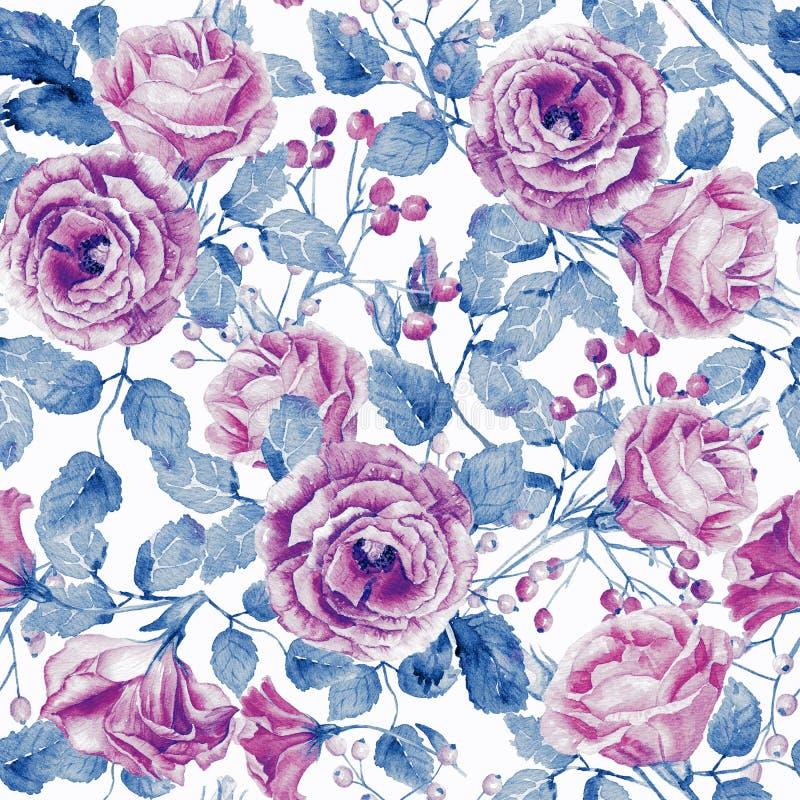 Naadloos patroon van waterverf roze rozen stock illustratie