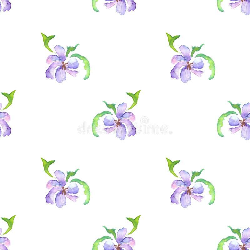 Naadloos patroon van waterverf violette bloemen royalty-vrije illustratie