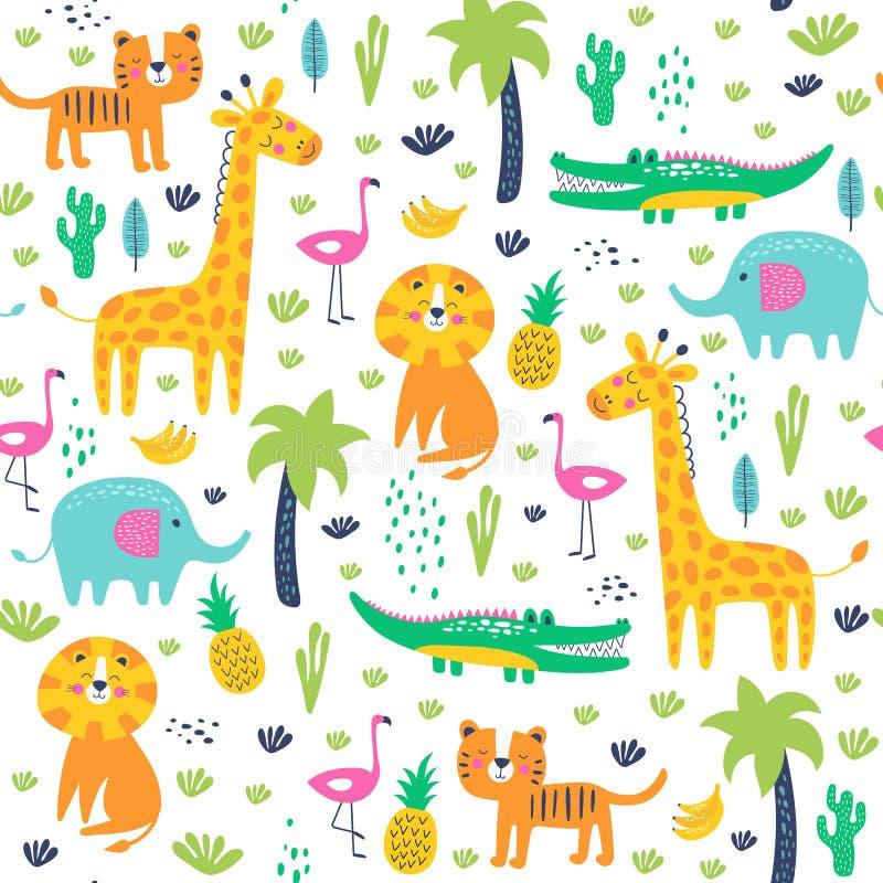 Naadloos patroon van wilde dieren in de jungle Vector kinderen stock foto's