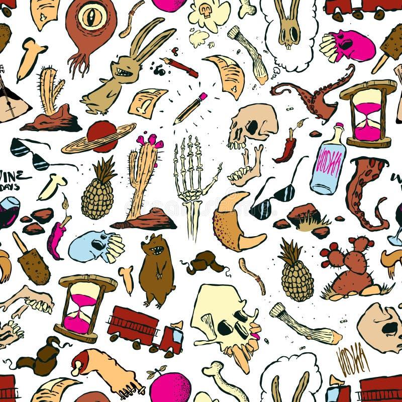 Naadloos Patroon van Willekeurige Krabbels en Tekeningen van Voorwerpen en Schepselen stock illustratie