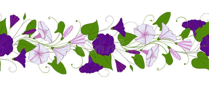 Naadloos patroon van winde Slinger met windebloemen Ochtend-glorie ornament royalty-vrije illustratie
