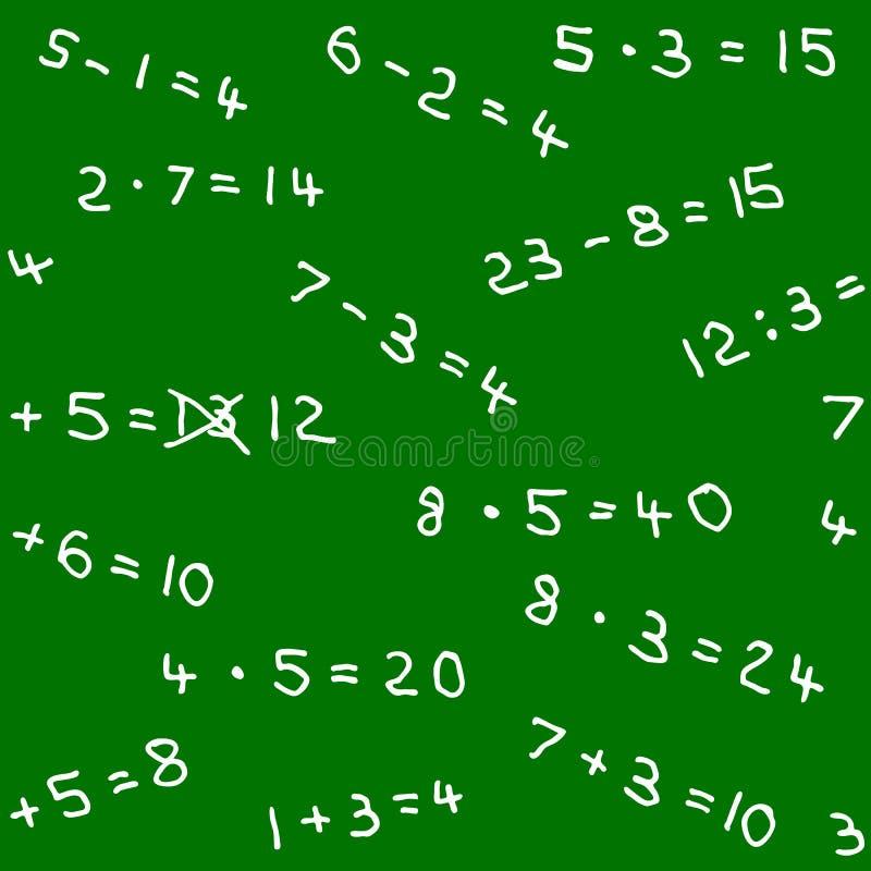 Naadloos patroon van wiskundethuiswerk op een bord stock illustratie