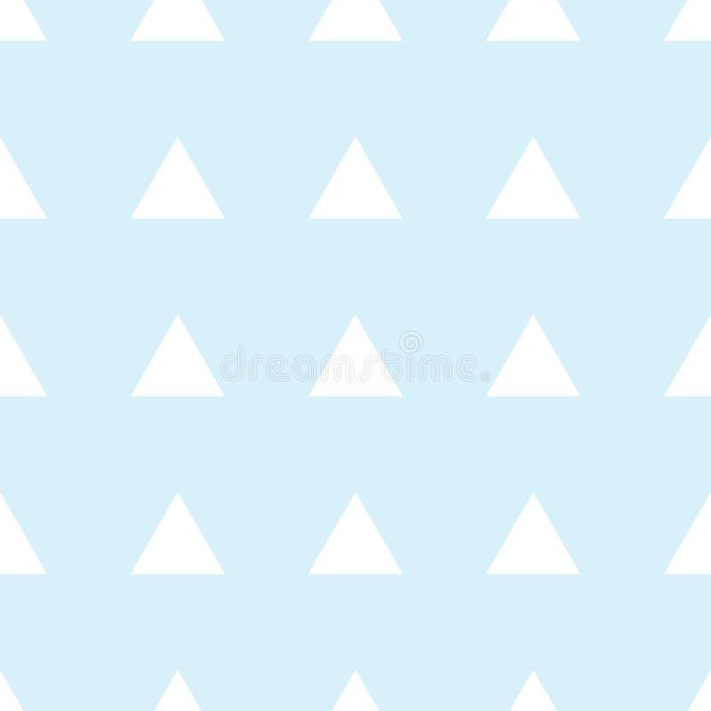 Naadloos patroon van witte driehoeken op een blauwe achtergrond Illustratie voor een jongen bij een partij van de babydouche Acht royalty-vrije illustratie
