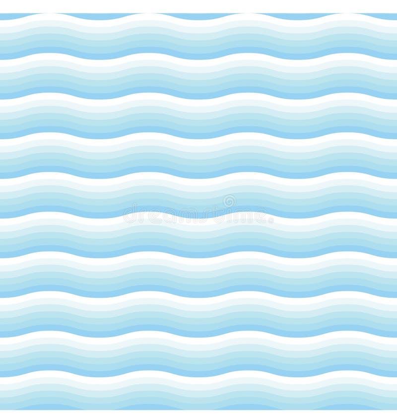 Naadloos patroon van witte en blauwe overzeese golven Vector illustratie stock illustratie