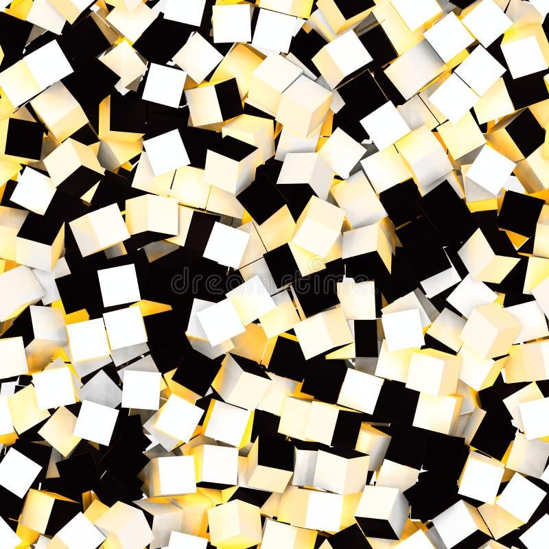 Naadloos patroon van witte, gele en zwarte gekleurde kubussen royalty-vrije illustratie