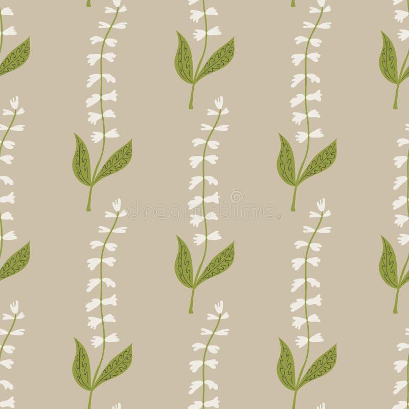 Naadloos patroon van witte tinkerbellbloemen op een beige achtergrond royalty-vrije illustratie