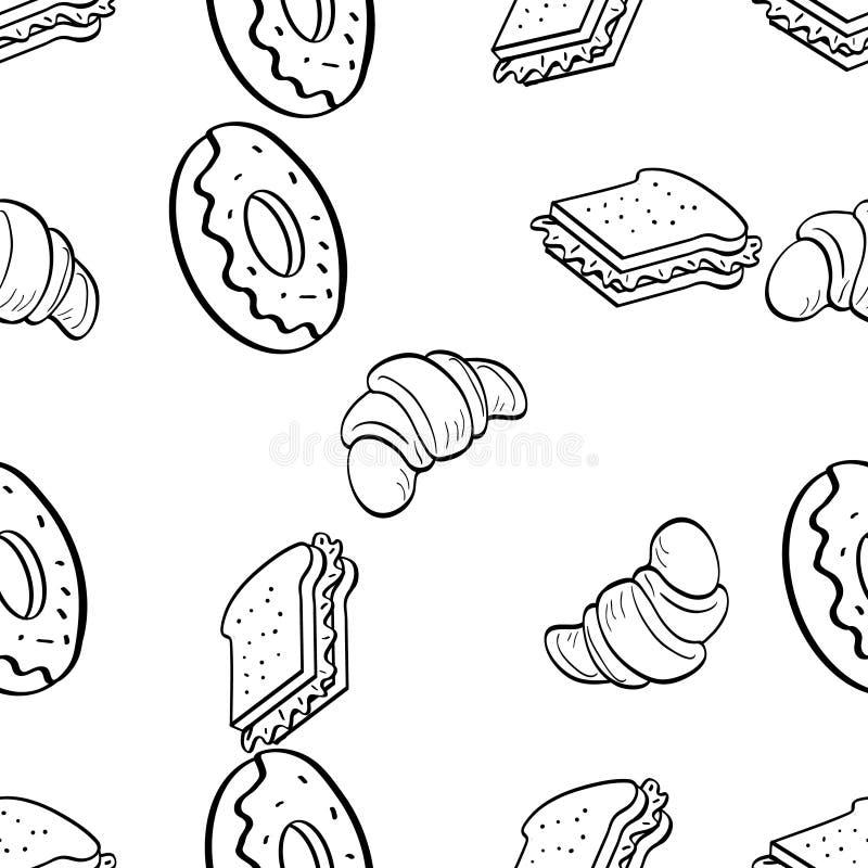 Naadloos Patroon van worst cupcake krabbel royalty-vrije stock afbeeldingen