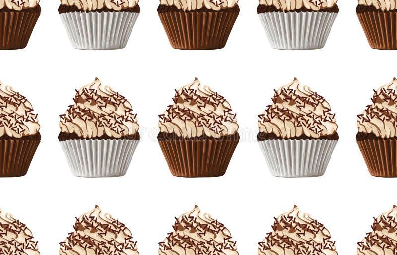 Naadloos patroon van zoete chocolade cupcakes vector illustratie
