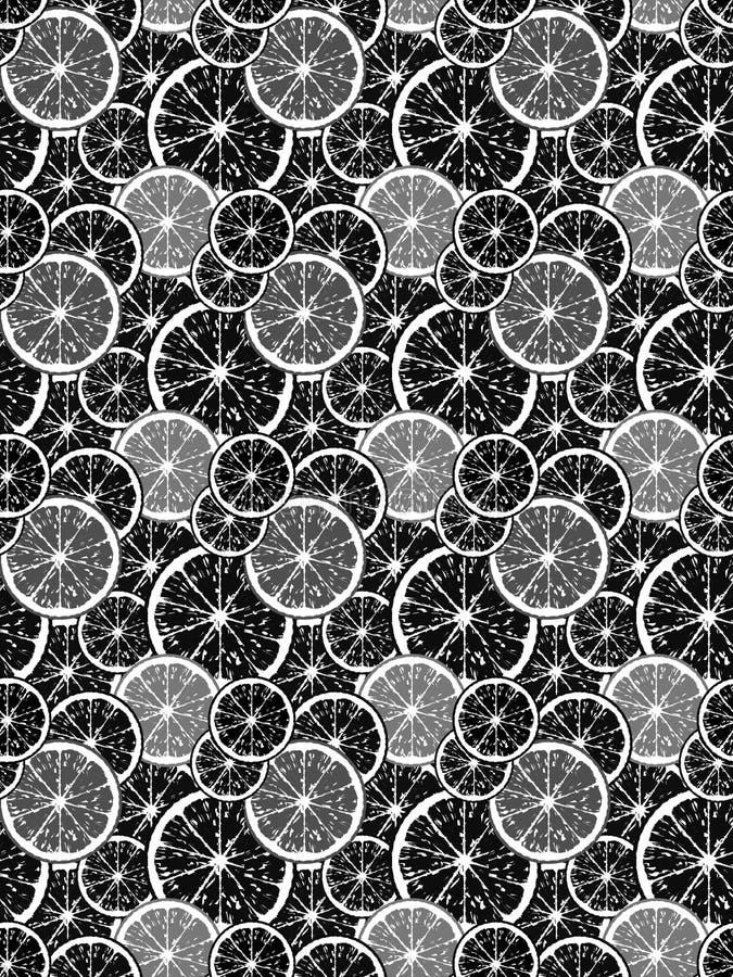 Naadloos patroon van zwarte citroenplakken royalty-vrije illustratie