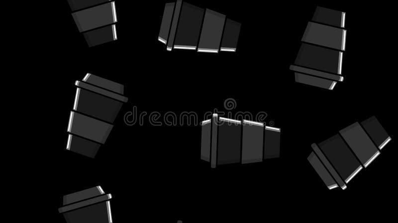 Naadloos patroon van zwarte het herhalen glazen met een snelle hete het stimuleren koffie in een meeneemkartonkop op zwart-wit vector illustratie