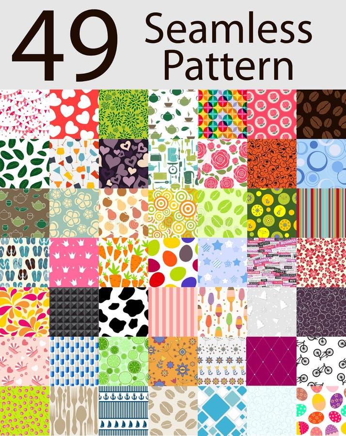 Naadloos Patroon 49 Vastgestelde Vectorillustratie stock illustratie
