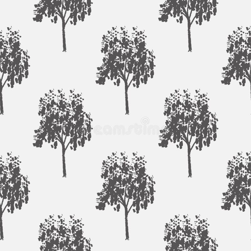 Naadloos patroon, vector die illustratie, decoratieve sier gestileerde eindeloze bomen herhalen abstracte achtergrond royalty-vrije illustratie