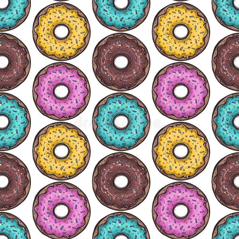 Naadloos patroon Vector Gekleurd donuts vector illustratie