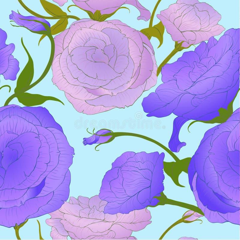 Naadloos patroon Vector tekening Eustoma - bloemen en knoppen Decoratieve compositi vector illustratie