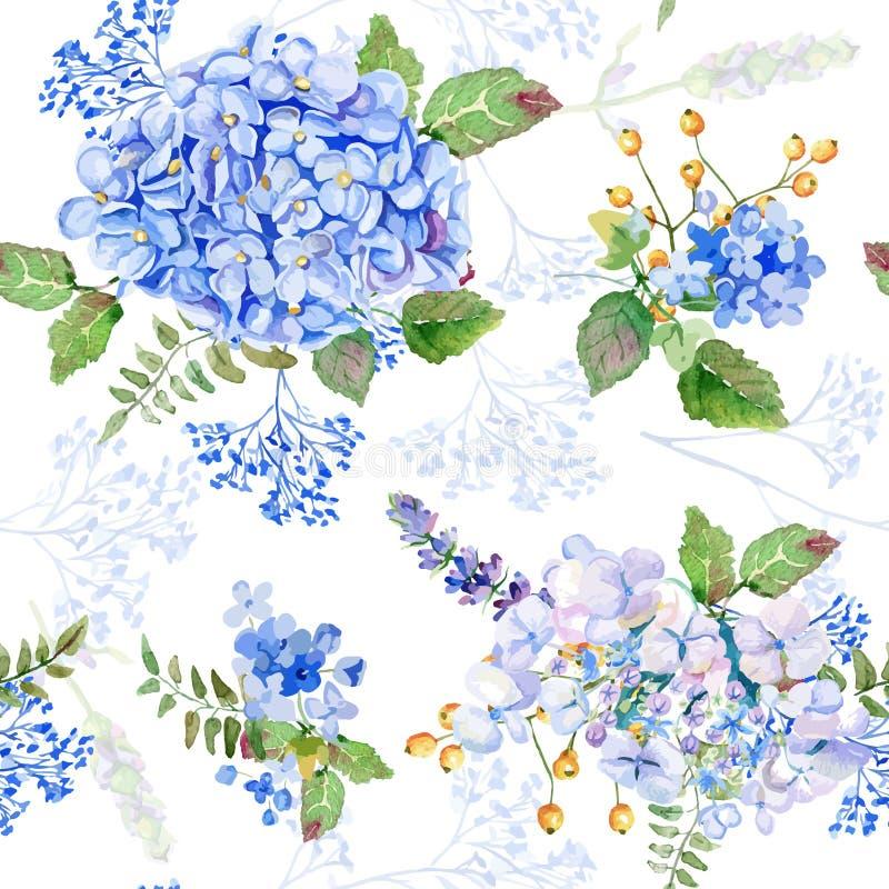 Naadloos patroon Vectorwaterverf blauwe hydrangea hortensia, lavendel royalty-vrije stock afbeeldingen