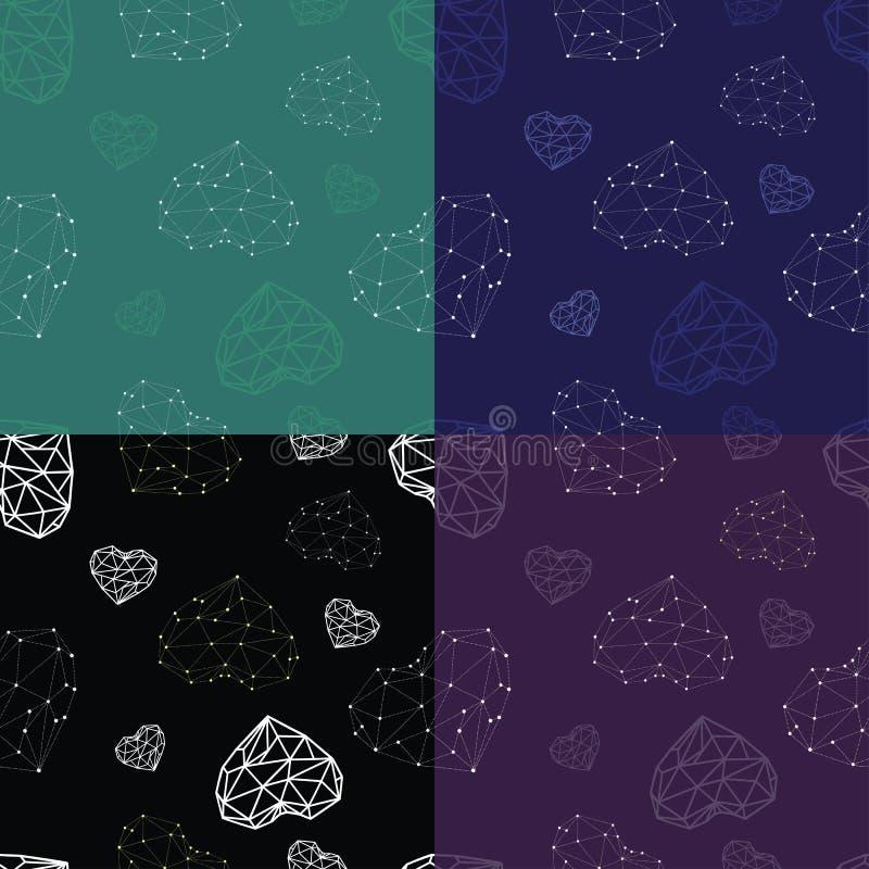 Naadloos patroon vier met contourharten en consellationharten stock illustratie