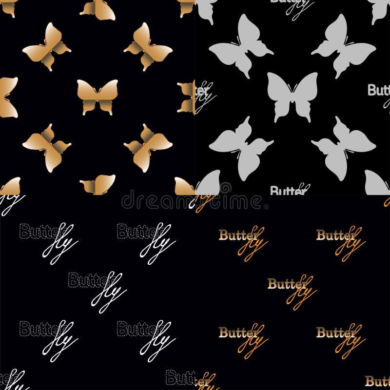 Naadloos patroon vier met gouden vlinders royalty-vrije illustratie