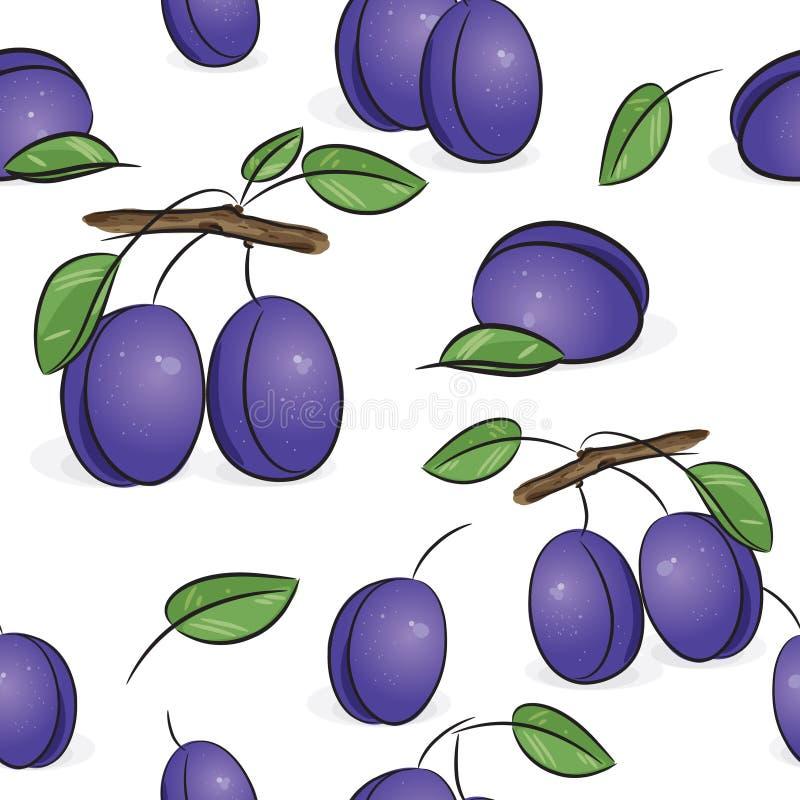 Naadloos patroon - Violette pruimen stock illustratie