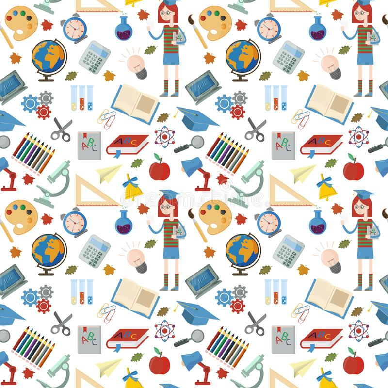 Naadloos patroon vlak op schoolthema, onderwijs, terug naar school vector illustratie