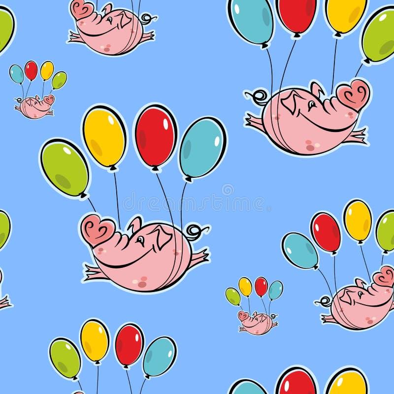 Naadloos patroon Vliegende varkens op ballons De hemel Vector royalty-vrije illustratie