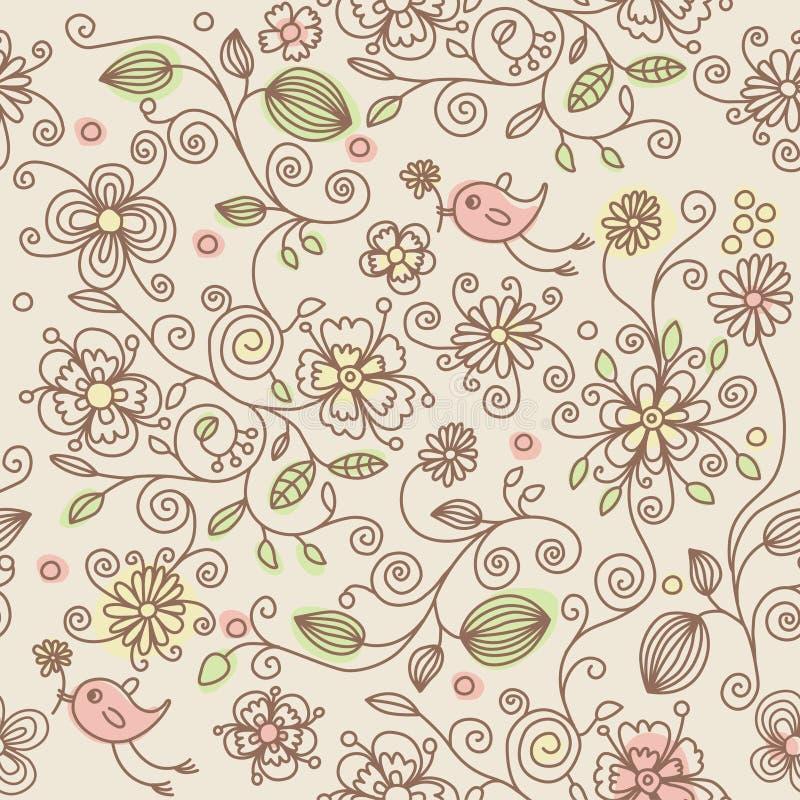 Naadloos patroon - vogels in bloemen stock illustratie