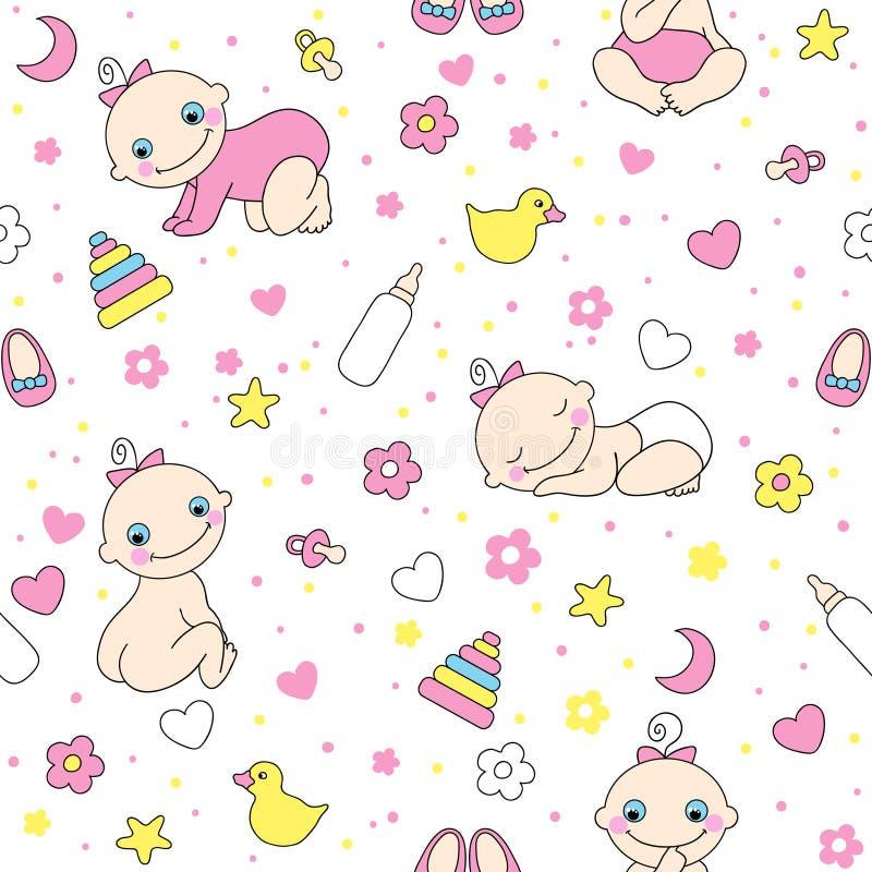 Naadloos patroon voor babymeisjes. vector illustratie