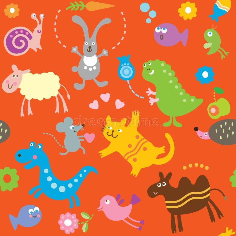 Naadloos patroon voor jonge geitjes - dieren vector illustratie