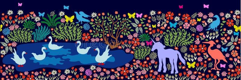 Naadloos patroon voor muurschilderij en fresko's Fantasievogels en dieren in dar vector illustratie