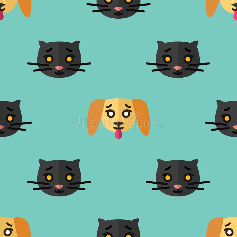 Naadloos patroon voor textiel met leuke zwarte katjes en gele puppy op een lichtblauwe achtergrond Vlakke vector vector illustratie