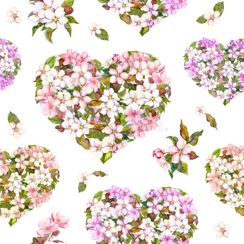 Naadloos patroon voor Valentine-dag - bloemenharten met witte en roze bloem Cherry Blossom watercolor royalty-vrije stock foto's