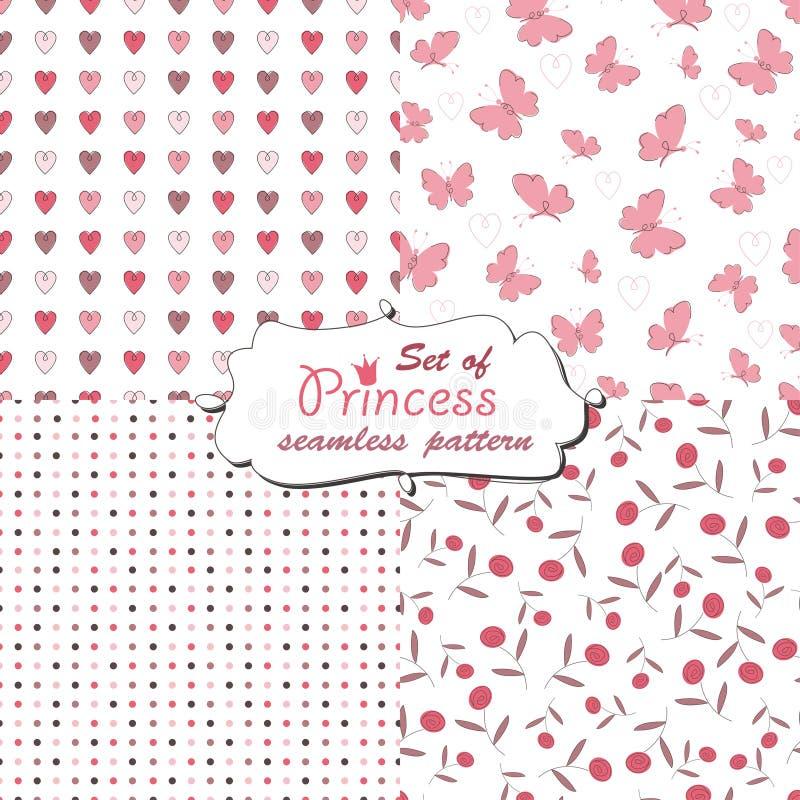 Naadloos patroon voor weinig prinses stock illustratie