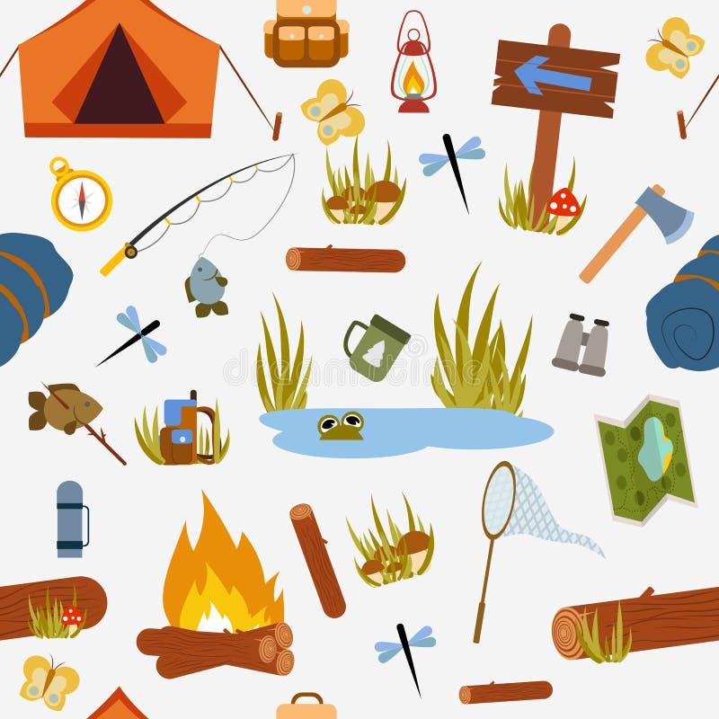 Naadloos patroon Wandeling en het kamperen royalty-vrije illustratie