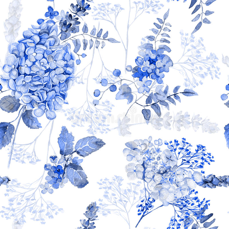 Naadloos patroon Waterverf blauwe hydrangea hortensia, lavendel, bes vector illustratie