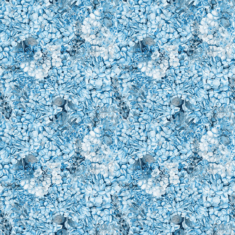 Naadloos patroon Waterverf blauwe hydrangea hortensia, lavendel, bes stock fotografie