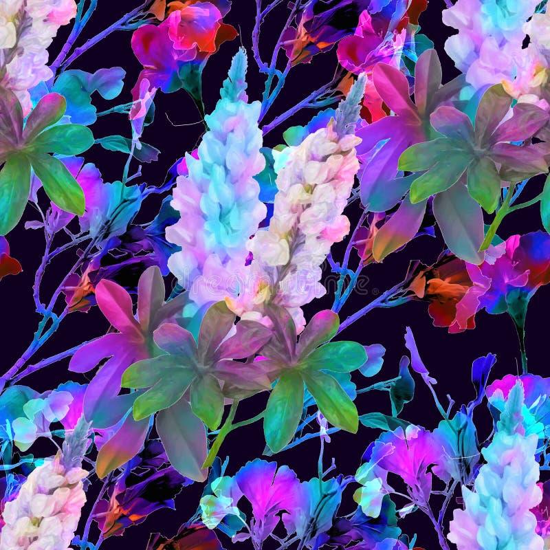 Naadloos patroon, waterverf bloemenachtergrond, patroon voor druk op stof, Behang, mooie bloemenpioen, hydrangea hortensia royalty-vrije illustratie