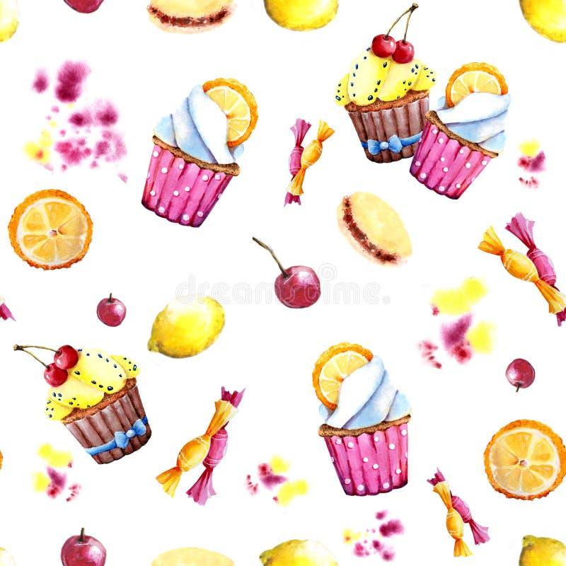 Naadloos patroon Waterverf cupcake met het vullen, sinaasappel en snoepjes Geïsoleerde Makkelijk te gebruiken voor divers menuont royalty-vrije illustratie