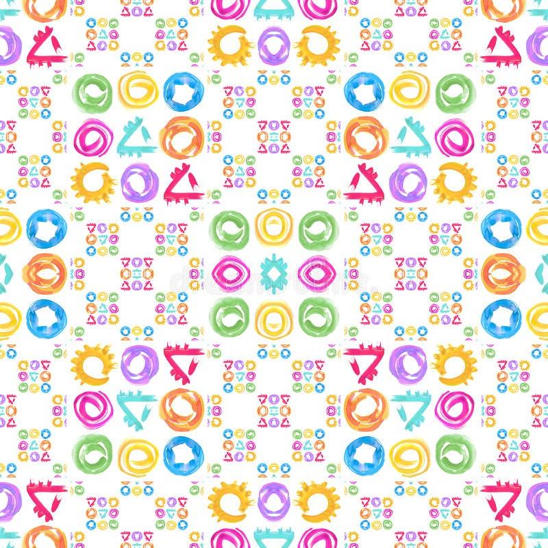 Naadloos patroon Waterverf geometrische vormen in abstracte stijl royalty-vrije illustratie