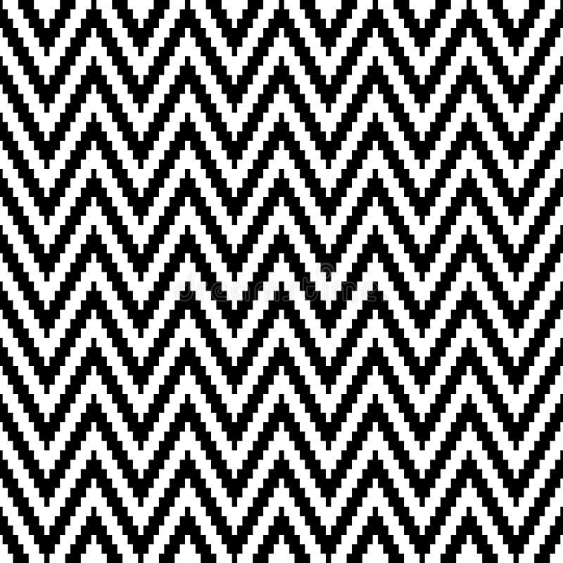 Naadloos Patroon Weinig Zwart-witte Pixelchevron royalty-vrije illustratie