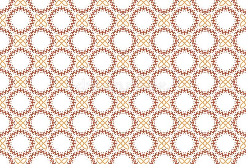 Naadloos patroon Witte achtergrond, bloemen, golvende lijnen en punten in bruine en rode kleurentonen royalty-vrije illustratie